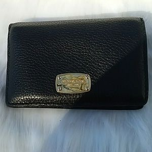 MICHAEL KORS BLACK WALLET, SIGNATURE LINING NWOT